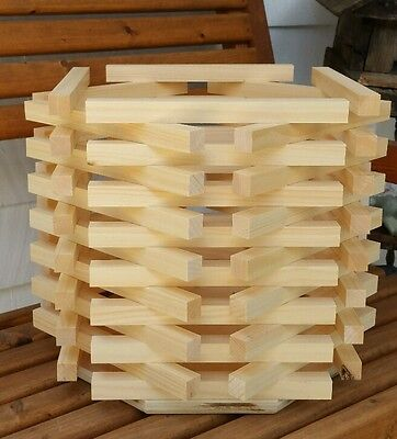 Hexagon Octagon wood wooden bucket Table-front step-patio-porch natural planter
