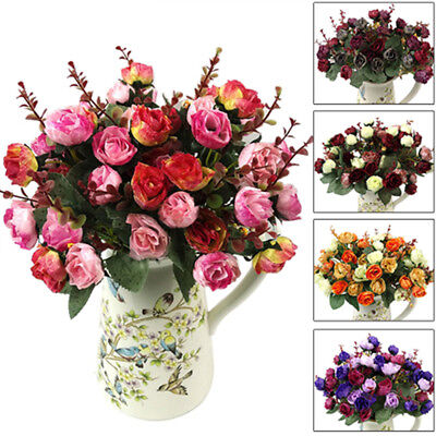 21 Heads Artificial Fake Rose Bouquet Silk Flower Leaf Wedding Party Home Decor