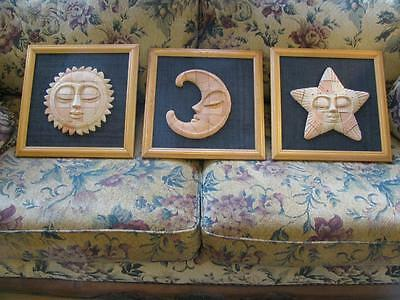 Hand Made Sculptures Sun Moon Stars Wall Plaques Signed by the Artist Rare