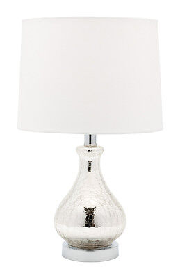 NAOMI Table Lamp Crackle Glass/Chrome With Off White