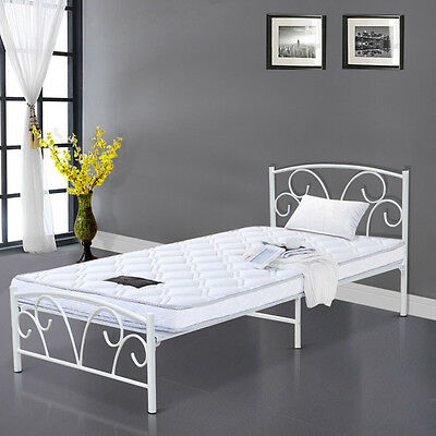 Single Bed in White 3ft Single Bed Metal Frame White