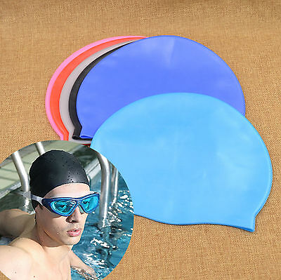Unisex Adult Swimming Pool Cap Silicone Swim Hat Waterproof Shower Cap