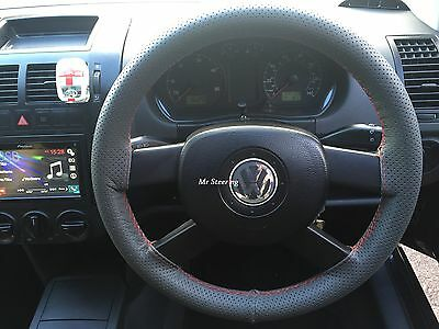 For Vw Sharan Dark Grey Perforated Leather Steering Wheel Cover Red Stitch