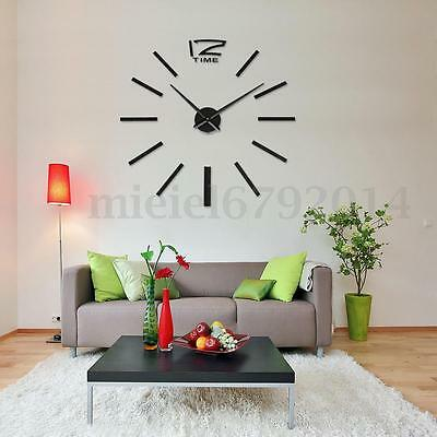 Impermeable Moderno DIY 3D Negro Espejo Reloj de Pared Mirrors Wall Clock Watch