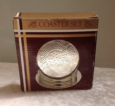 Vintage Silver Plate Scotland Set Of Six Drinks Coasters On Stand Box