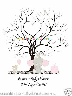 Finger Print Tree ELEPHANT BUNNY PERSONALISED A3 A4 Baby Shower INCLUDES INK PAD