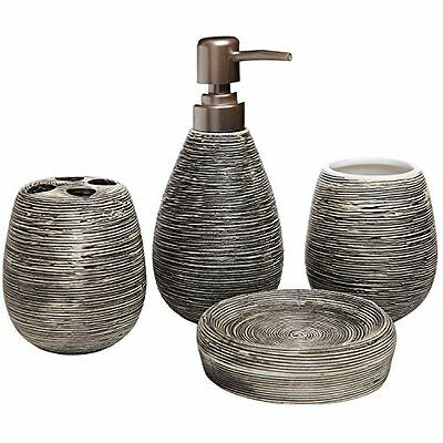 4 Pc Line Textured Dark Brown Ceramic Soap Dish, Soap Dispenser, Toothbrush Hold