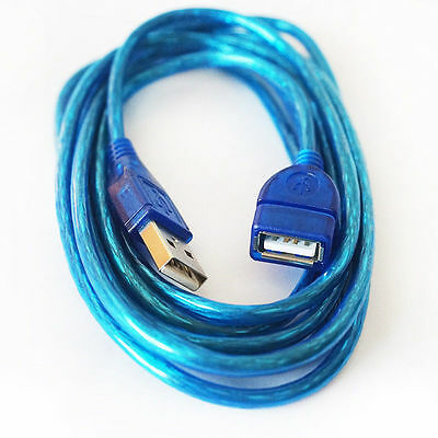1m 1.5m 2m Clear Blue USB 2.0 Extension Cable A Male to A Female Lead Extender