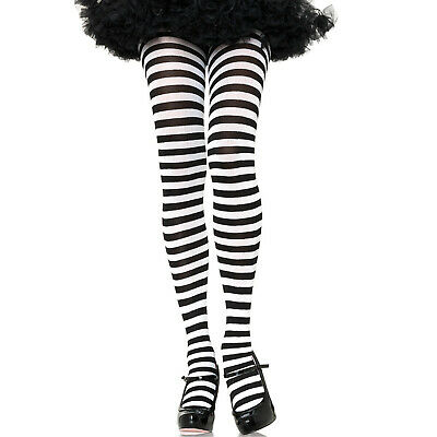 Black & White Stripe Tights Full Pantyhose Womens Ladies Costume Stockings Alice