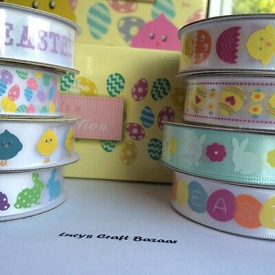 1 - 3 m length Easter Ribbon - 15mm Wide - Bunny, Chick, Happy Easter Egg