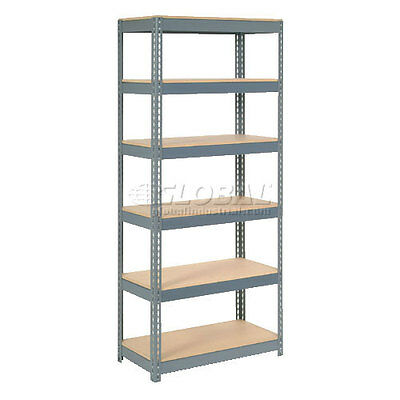 """Extra Heavy Duty Shelving 36""""W x 18""""D x 96""""H With 6 Shelves, Wood Deck"""