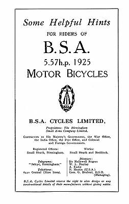 1925 BSA 5.57hp H25 instruction book