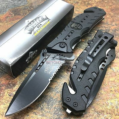 MASTER USA Black Skull Tactical Hunting Rescue Folding Pocket Knife MU-A010BK