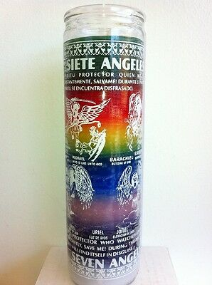 The 7 Archangels & 13 Cherubs 7 Day 7 Color Unscented Candle In Glass