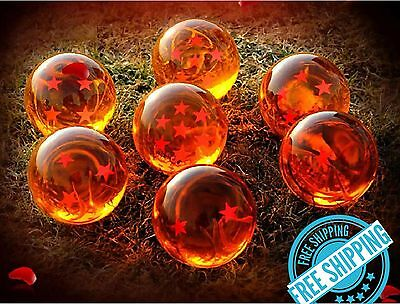 New 7pcs JP Anime DragonBall Z Stars Crystal Ball Collection Set with Gift Box