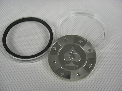 Silver Metal Token Coin Plastic Cover PokerStars Cards Guard Protector Chip