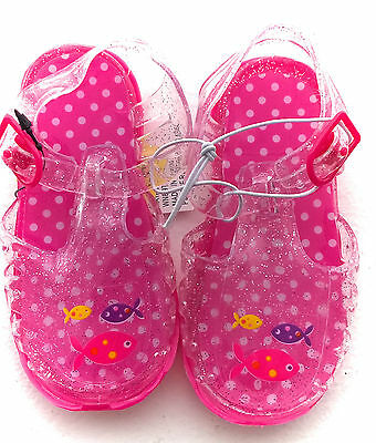 Baby Girls Jelly Sandals Pink Glitter With Fish Design 12-18 Months