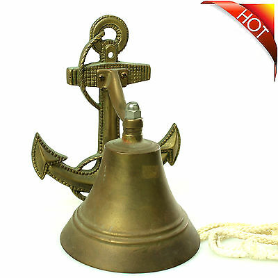"Rustic Bronze Wall Mounted Anchor Hang Bell 8"" Vintage Cast Iron Nautical Decor"