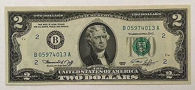 1976 $2 Two Dollars New York Frn, Uncirculated Banknote.
