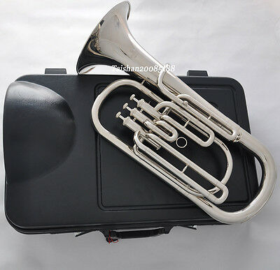 Quality 3 piston Bb silver nickel Baritone Horn New case
