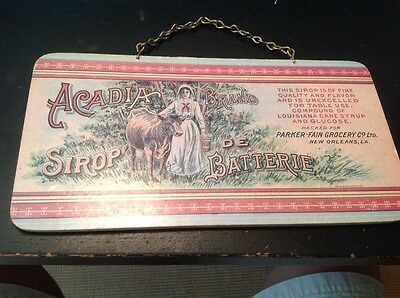Vintage Acadia Brand Sirop De Batterie Wooden Advertising Sign