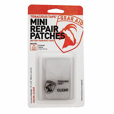 "Gear Aid Tenacious Tape Mini Repair Patches Clear 6-Count 1.5"" x 2.5"" Patches"