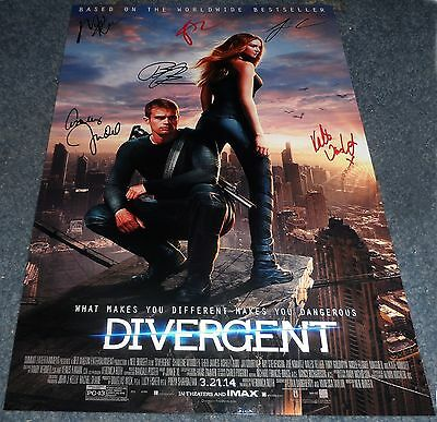 "Divergent Cast X6 Pp Signed 12""x8"" A4 Photo Poster Shailene Woodley Theo James"