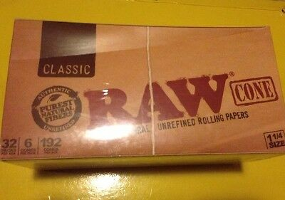 NEWLY REVISED 32ct RAW BOX Pre-Rolled 1 1/4 ORGANIC Cones 6 Per Pack 144 Cones