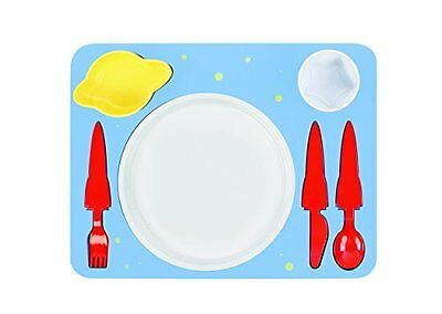 """Space"" Melamine Kids Dinner 7-piece Set, Plate, Cup, Utensils, Bowl on a Tray,"
