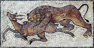 Lion Hunting Deer Marble Mosaic Ancient Style