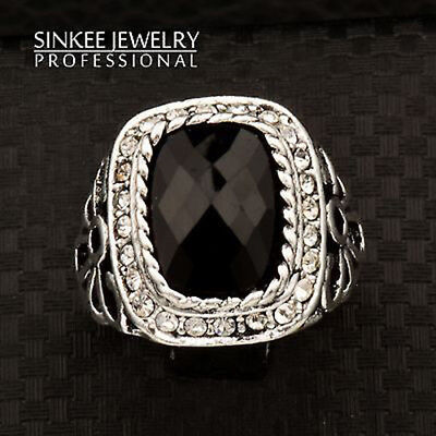 Vintage Square Black Hollow Rings For Women Men Big Size Antique Silver Plated