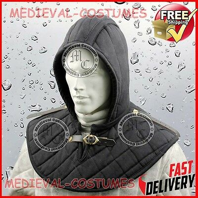 Padded Gorget Coif Hood Neck Collar With Leather Pauldren Shoulder Straps A77
