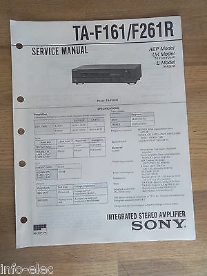 Schema SONY - Service Manual Integrated Stereo Amplifier TA-F161 TA-F261R