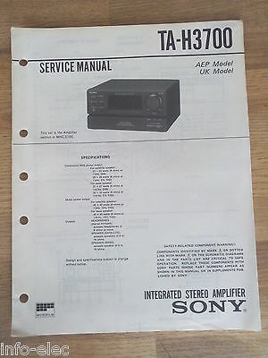Schema SONY - Service Manual Integrated Stereo Amplifier TA-H3700 TAH3700
