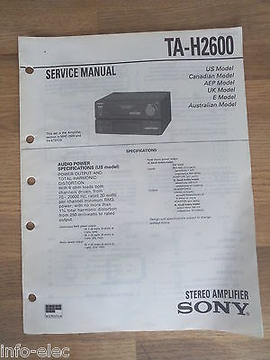 Schema SONY - Service Manual Stereo Amplifier TA-H2600 TAH2600