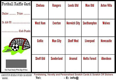 10 x Football Fundraising Raffle Cards / Scratch Cards (20 UK Teams) New