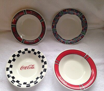 4 Coca-Cola Cereal Bowls by Gibson 1996 Multiple Patterns