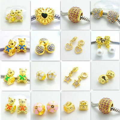New gold Spacer European Charms BeadS Fit Necklace Bracelet DIY SC0004