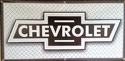 Chevrolet Old School Bowtie Lighted Effect Printed Banner Garage Art Sign 2 X 4