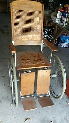 EARLY 1900 Antique Wooden COLSON Wheelchair with wire spoke wheels
