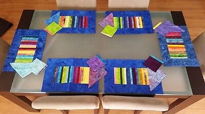 Balinese  handmade colourful placemats set of 6 + 6 Napkins and 6 Coasters
