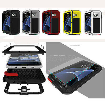 For Samsung Galaxy S10 Plus/S8/S9 LOVE MEI Shockproof Hybird Aluminum Matel Case