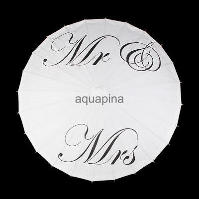 """Mrs & Mr "" White Paper Parasol Umbrella Wedding Bridal Photo Props"
