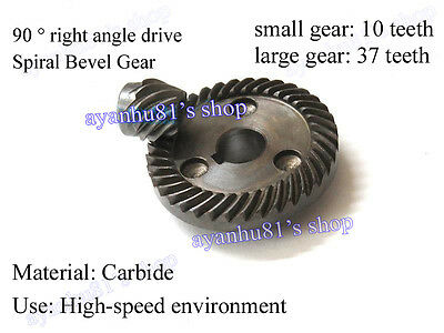 1pair Angle Grinder Metal Spiral Bevel Gear 90° Pairing 10 37T Teeth Bore 6/12mm