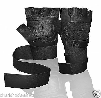 Kango Fitness Leather Padded Long Wrist Wrap Weight Lifting Gloves W-1045B