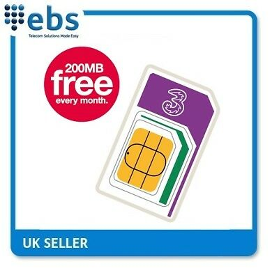 3 Data Sim 200MB FREE Every Month