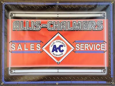 Allis Chalmers Tractor Sales Dealer Neon Style Printed Banner Sign Art 4' X 3'