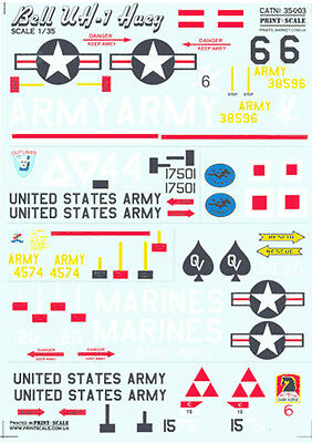 Decal For Bell Uh -1 Huey 1/35 Print Scale 35-003