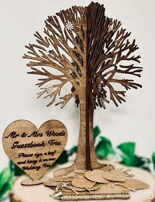 Personalised Guestbook Wishing Wedding Tree Anniversary Love Sign 50 Card Hearts