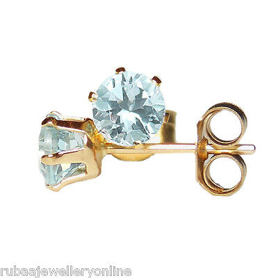 4mm ROUND FACETED GENUINE AQUAMARINE 9ct / 9k YELLOW GOLD STUD EARRINGS